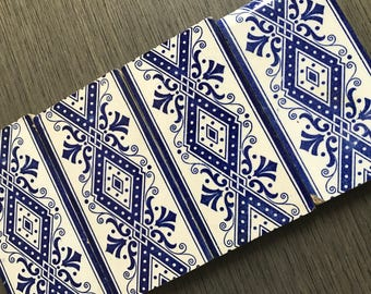 4 Blue and White Border Tiles 1910-1920 Rectangle Pretty Classic Navy Accent tile set of 4