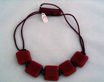 5-piece red fused glass necklace