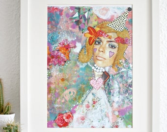 Mixed media girl with flower crown art print.