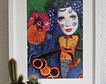 Whimsical girl with jam tarts art print.