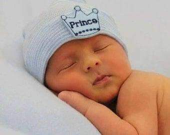 READY TO SHIP prince baby boy hat, newborn baby boy hat, newborn baby boy hospital hat, baby boy, newborn hat, prince, newborn hat