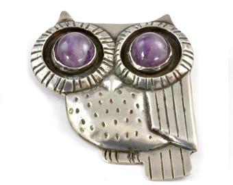 William Spratling Silver Owl Brooch or Pin with Amethyst Eyes