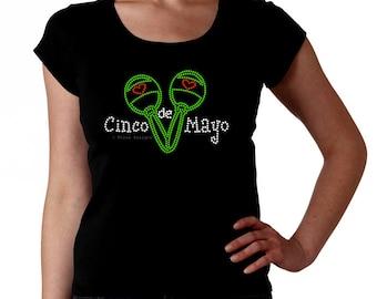 Cinco de Mayo Maracas RHINESTONE t-shirt tank top sweatshirt S M L XL 2XL - Mexican Celebration Margarita Independence Day Party Tequila