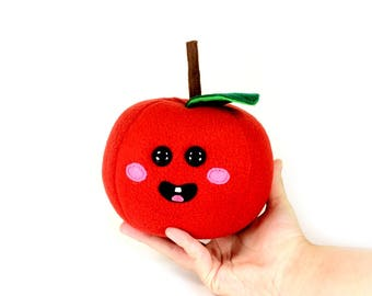 Apple Plush Toy, Apple Stuffed Toys, Cute Kawaii Apples, Pretend food plushie, Back to School Gifts, Handmade teacher gift, Red apple softie