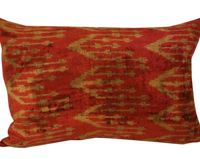 Handmade Velvet Silk Ikat pillow cover Lp117, Bohemian pillow