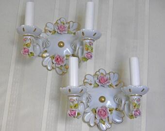 PAIR Vintage Sconces Authentic Capodimonte Sconces Electric Porcelain Floral Sconces 24K Gold Trim Pristine Italian Beauties