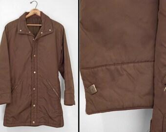 HEAD Ski Jacket 1970s Brown Silver Zip + Snap Belted Unisex Size 40 Medium Hood