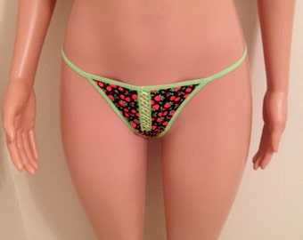 Everyday Casual Rose Pattern Thong Panties-Women Size Med G-String