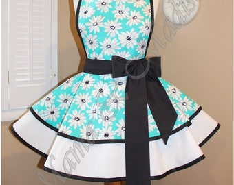 Aqua Daisy Print Woman's Retro Apron Accented In Black And White...Plus Sizing Available