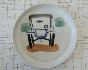 50's Mid Century Delco Remy 1959 Management Party Commemorative Plate by Bennington Potters