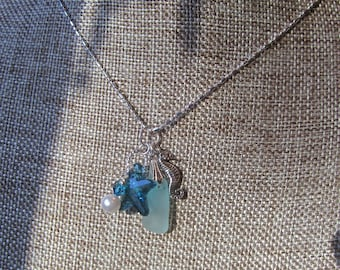 Cluster Sea Glass Necklace w Real Sea Glass, Swarovski Starfish n Pearl n Sterling Sea Horse Charm, Seaside Necklace, Ocean Lovers, Gift