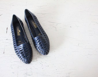 woven navy leather loafers / 7.5