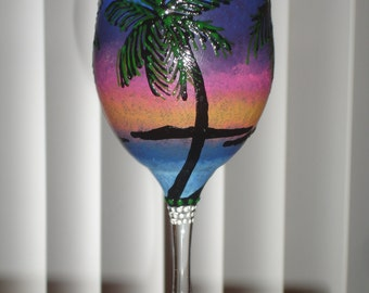 1 hand painted tropical scenic wine glass