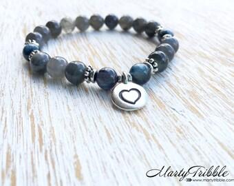 Labradorite Bracelet, Blue Kayanite Jewelry, Silver Heart Bracelet, Valentine's Gift, Valentine Bracelet, Love Jewelry, Valentine Jewelry