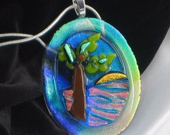 TRULY TROPICAL fused glass jewelry pendant with Necklace