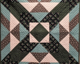 Modern Baby Boy Quilt, Geometric Quilt, Cotton and Steel Fabric, Navy, Aqua, Green, Crib Quilt, boy blanket, X Marks The spot, Dots