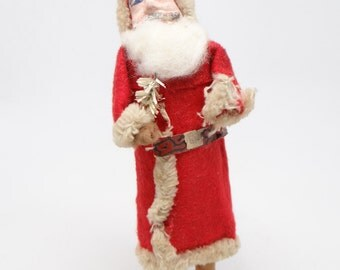 Vintage 1940's 7 Inch SANTA With Hand Painted Clay Face, Father Christmas Belsnickel
