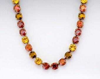 Yellow Rhinestone Necklace, Red Crystal Necklace, Red Rhinestone Jewelry, Red Crystal Jewelry, Antiqued Brass Nickel Free Necklace, Damaris
