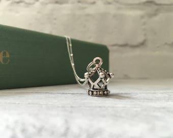 Crown charm necklace, queen necklace, princess necklace, 3D charm, gifts for teen girls, gifts for women, etsy uk, tiara crown