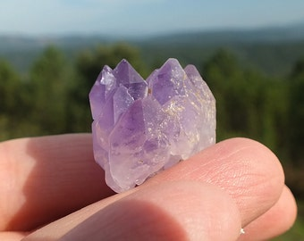Amethyst Crystal Cluster, Multi Terminated Elestial Mineral, Raw Natural DT Stone, 13g 24mm ~ Awakening And Tansformation ~ (61-30)