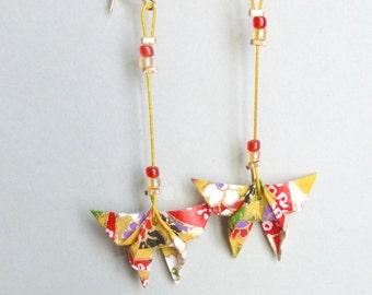 Multicolor Butterfly Origami earrings