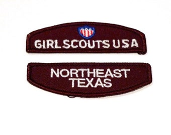 Girl Scout Patch Set Choose Texas Location Vintage Brown Council Identification Patches Emblem Tejas Cross Timbers Northeast Texas Junior