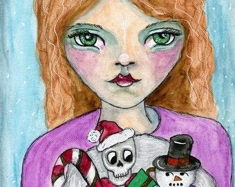 Christmas Art ORIGINAL 5.5x8.5 watercolor on paper // Stocking, Christmas Stocking, Snowman, Candy Cane, Skull, Presents // Girl, Santa Hat