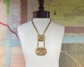 Chinese Dragon Gold Tone Necklace • Vintage Statement Necklace • Large Lariat Necklace • Statement Necklace • Costume Jewelry • Dragon Head