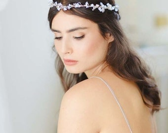 Iris II Forget Me Not Blue Crystal and Glass Flower Bridal Wreath, Custom Wedding Halo, Bridal Crown, Wedding Circlet, Wedding Tiara