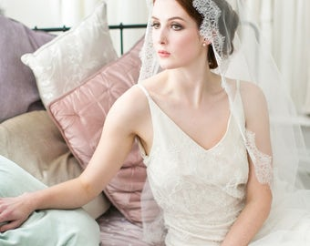 Clara Eyelash Lace Mantilla Wedding Veil in Ivory, White in all lengths including elbow, fingertip, floor, chapel and cathedral