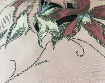 Vintage French Valentin Paris Silk scarf. pink flowers
