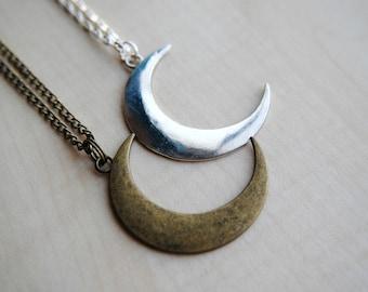 Crescent Moon Necklace --Minimalist Jewelry -- Simple Necklace -- Moon Jewelry -- Boho Chic -- Handmade