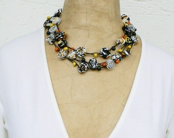Multistrand colorful necklace, Long textile necklace, Relaxed cool necklace, Boho look ecofriendly, Gypsy look, Yellow Black Orange White