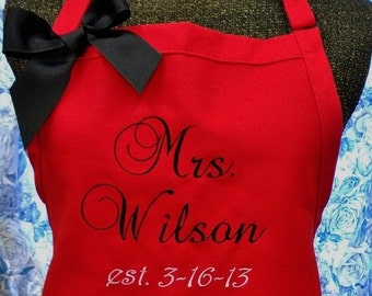 Personalized Bridal Apron Monogrammed Wedding Gift