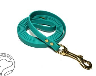 "Teal Biothane Leash - New Color - Thin 1/2"" (12mm) wide Small Dog Leash - Choice of: Stainless Steel Or Brass Hardware - Custom Length"