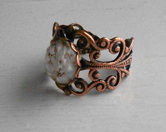 Vintage copper filigree ring.  White flecked cabochon.  Ladies jewelry.