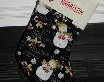 Christmas Stocking - quilted, personalized with cross stitch top