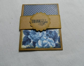 Gift Card Holder Thank you Kraft/blue