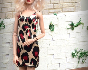 Animal-print Satin Mini Slip Dress for Fashion Royalty fashion dolls (2013 and newer bodies, formerly FR Squared)