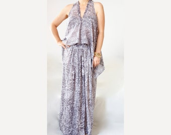 Layered Sheer Dress Plunging V Neckline Maxi Wrap Dress Loose Sheer Maxi Dress Bohemian Halter Dress Plus Size Set Dress Skirt Cotton Maxi