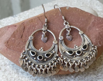 925 Sterling Silver & Black Onyx Semi Precious Gemstone Chandelier Balinese Earrings Indonesia Indian Wedding Bridal Jewelry Jewellery