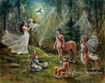 "Fantasy Magic, mythology ""Birth of a Dragon"" Centaur Faun Faeries , Laurie Shanholtzer Canvas prints of original painting"