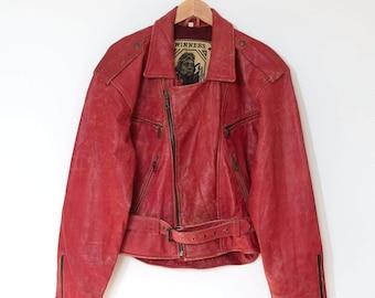 Vintage Distressed Red Leather Motorcycle Biker Jacket Grunge Large 42 44