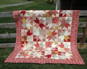 Queen Quilt in Red and Taupe