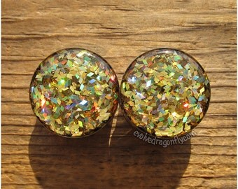 1 Inch, 25mm Sale! - READY TO SHIP - Gold Diamond Holographic Glitter Plugs | 10% Off
