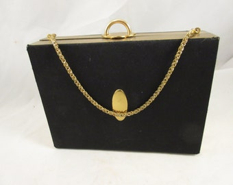 """Vintage Day/Evening Black Purse """"Elegance EVANS"""" Gold tone Trim and Rope Chain"""