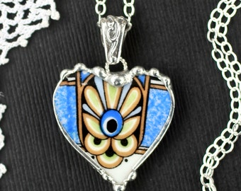 Necklace, Broken China Jewelry, Broken China Necklace, Heart Pendant, Blue Art Deco China, Sterling Silver, Soldered Jewelry