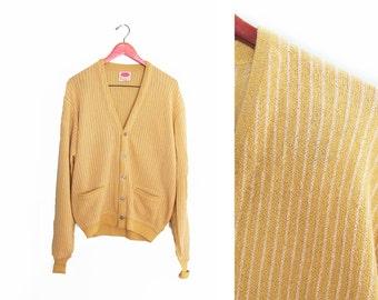vintage cardigan / grandpa cardigan / oversize / 1960s mustard striped cardigan XL