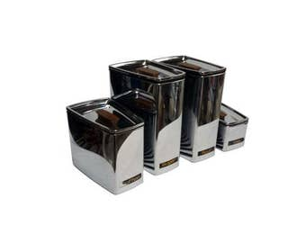 Vintage Kitchen Canisters Chrome Lincoln Beautyware Mid Century Kitchen
