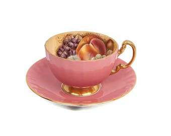 Vintage AYNSLEY Orchard and Gold Pink and Fruit Footed Teacup and Saucer Fine Bone China Made in England Encrusted Gold Hand Painted